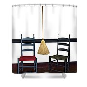 Shaker Chairs And Broom Shower Curtain