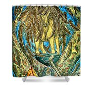 Shaman Spirit Shower Curtain by Kim Jones