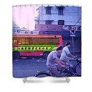 Shanghai Pink Bus Shower Curtain