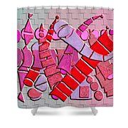 Shape Sets In Red Shower Curtain