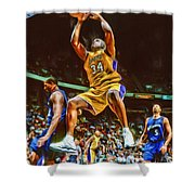 Shaquille O'neal Los Angeles Lakers Oil Art Shower Curtain