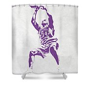 Shaquille O'neal Los Angeles Lakers Pixel Art Shower Curtain