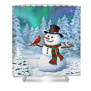 Sharing The Wonder - Christmas Snowman And Birds Shower Curtain by Crista Forest