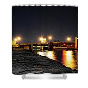 Shark River Inlet At Night Shower Curtain by Paul Ward