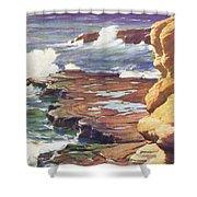 Sharp Rocky Coastline Shower Curtain