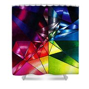 Shattered Rainbow Triangles Optical Art Shower Curtain