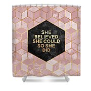 She Believed She Could Shower Curtain by Elisabeth Fredriksson