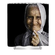 She Bit The Lip To Hide Her Smile Shower Curtain