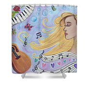 She Dreams In Music Shower Curtain