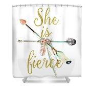 She Is Fierce Boho Tribal Gold Blush Arrow Print Shower Curtain