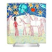 She Meets The Moon Unicorns Shower Curtain