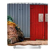 Shed Doors And Tangled Nets Shower Curtain by Louise Heusinkveld