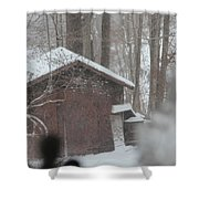 Shed Thru Glass And Snow Shower Curtain
