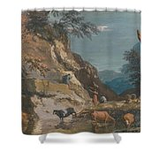 Sheep And Three Peasants Below A Cliff Shower Curtain