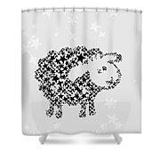 Sheep Black Star Shower Curtain