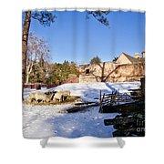 Sheep Farm In Winter Shower Curtain
