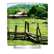 Sheep Grazing In Pasture Shower Curtain