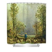 Sheep Watching A Storm Shower Curtain