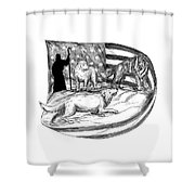 Sheepdog Protect Lamb From Wolf Tattoo Shower Curtain