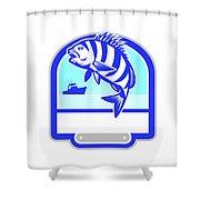 Sheepshead Fish Jumping Fishing Boat Crest Retro Shower Curtain