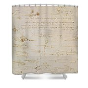 Sheet Of Studies Of Foot Soldiers And Horsemen In Combat, And Halbards Shower Curtain