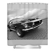 Shelby Gt500kr 1968 In Black And White Shower Curtain