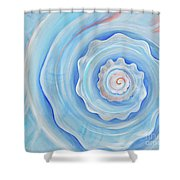 Shell Coral Blue Shower Curtain