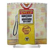 Shell Gas Pump Shower Curtain