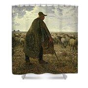 Shepherd Tending His Flock Shower Curtain