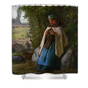 Shepherdess Seated On A Rock Shower Curtain