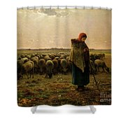 Shepherdess With Her Flock Shower Curtain by Jean Francois Millet