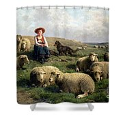 Shepherdess With Sheep In A Landscape Shower Curtain by C Leemputten and T Gerard