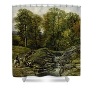 Shepherds Next To A Brook By Thomas Creswick Shower Curtain