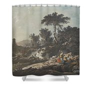 Shepherds Resting By A Stream Shower Curtain