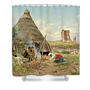 Shepherds Resting In The Roman Campagna Shower Curtain