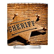 Sheriff Badge - Sepia Shower Curtain