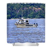 Sheriff Boat On The Hudson Shower Curtain