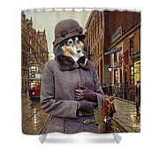 Shetland Sheepdog Art Canvas Print - Charleston Blue Shower Curtain