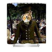 Shetland Sheepdog Art Canvas Print - Music In The Tuileries Gardens Shower Curtain