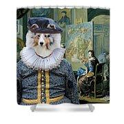 Shetland Sheepdog Art Canvas Print - The Painter And His Studio Shower Curtain