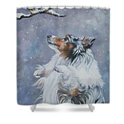 Shetland Sheepdog With Chickadee Shower Curtain