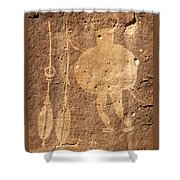 Shield Figure With Weapons Petroglyph Shower Curtain