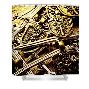 Shields And Swords Weapons Shower Curtain