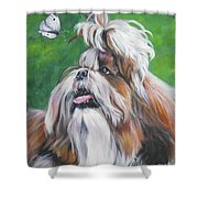 Shih Tzu And Butterfly Shower Curtain
