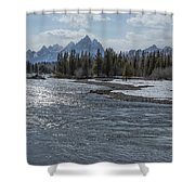 Shimmering Snake River And The Tetons Shower Curtain
