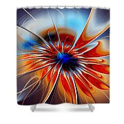 Shining Red Flower Shower Curtain