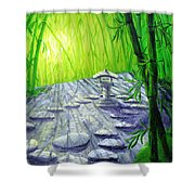 Shinto Lantern In Bamboo Forest Shower Curtain