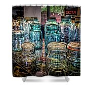 Shiny Glass Jars Shower Curtain