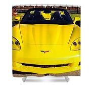 Shiny Yellow Corvette Convertible  Shower Curtain