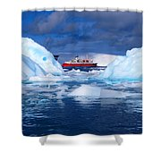Ship In Between Icebergs Shower Curtain